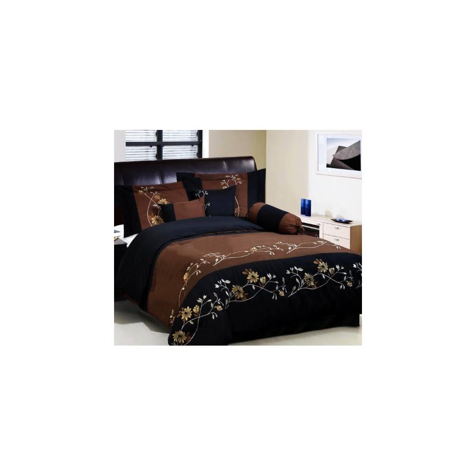 7 pc modern brown black embroidered comforter set bed in a bag queen size bedding on popscreen. Black Bedroom Furniture Sets. Home Design Ideas