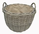 Extra Large Delux, Classic Round Wicker Log Basket,. Hessian lined with lifting handles.