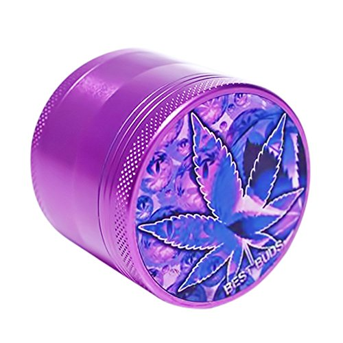 Best Buds Aluminum  Pot, Herbs and Tobacco Grinder with Weed Design, 2.2-Inches - Purple