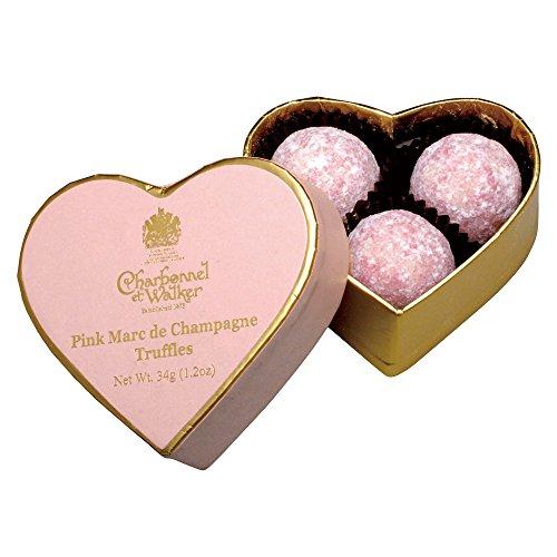 シャルボネル エ ウォーカー ピンクハート ピンクマールドシャンパーニュ トリュフチョコレート 3粒入り ブランド紙袋付き
