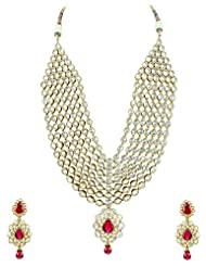 Bridal Jewellery Set Fuchsia (Rani) Colored Seven Line Drop Shaped Reverse AD Necklace Set