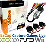 EzCap USB 2.0 Audio Video Capture Card Device Transfer Live Games from Xbox360 Playstation3 PS3 Wii in Color, Covert AV from Camcorder VHS V8 Hi8 DVD Player Satellite TV Freeview, Supports Windows XP Vista Windows 7 32/64 Bit - Arcsoft Showbiz 3.5 Editing Software - Free 3 Female to Female Splitter