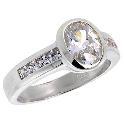 Revoni Sterling Silver 1.25 Carat Size Oval Cut Cubic Zirconia Bridal Ring (Available in Sizes L to T)