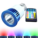 Bombilla LED HitLights  E26 multicolor de RGB, 5 vatios, PAR16 con 20 años de vida, Incluye control remoto con función de memoria y con un enchufe estándar.