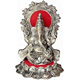Crafticia Craft Rajasthani Handicraft Oxidised White Metal Silver Spiritual Sitting Ganesha Gift Item Showpiece