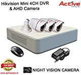 HIKVISION 4CH DS-7104HGHI-F1 MINI Turbo HD 720P DVR + ACTIVE AHD 1 Megapixel High Resolution 36IR BULLET CAMERA 3pcs COMBO