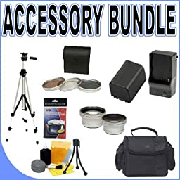 BigVALUEInc Accessory Saver FH100 Replacement Compatible Battery - Filter Kit - Tele/Wide Lens Bundle for Sony Handycam HDD 37mm Hard Disk Drive Camcorders + MORE!