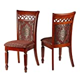 Cortesi Home Asher Queen Anne Dining Chair in Chocolate Red Fabric with Gold Accents (Set of 2)