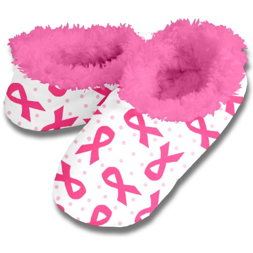 Snoozies Breast Cancer Awareness Women'S Slippers (Medium, White And Pink Lining)