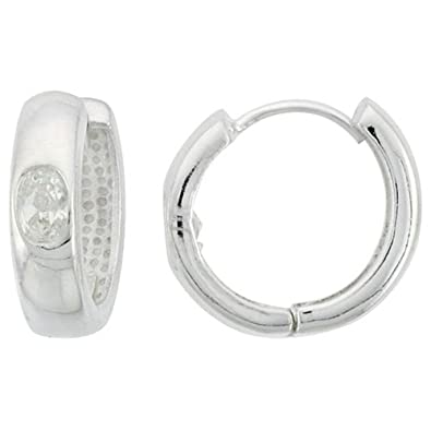 Sterling Silver Huggie Earrings Oval Cut 6 x 4 mm (.50 ct) CZ Stone,
