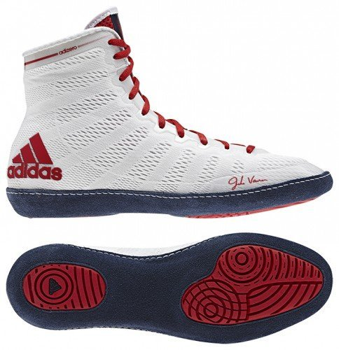 Adidas adiZero Varner High Top Wrestling Shoes - 10 - White/Navy/Red (High Top Adidas For Boys compare prices)