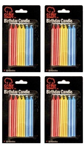 Chef Craft Tall Straight Birthday Cake Candles, Bulk Party Supplies, 4 Pack - 1