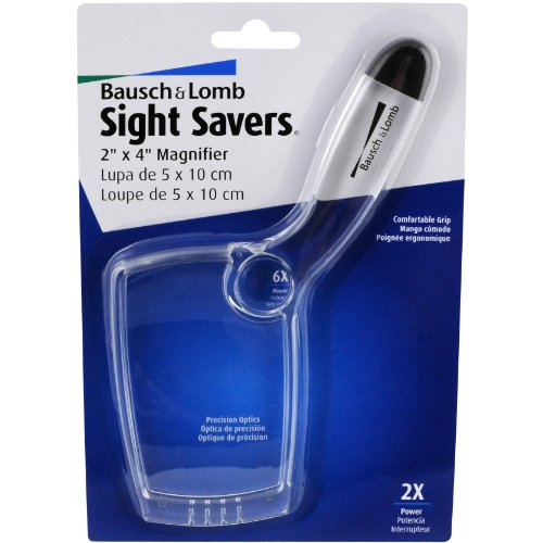 Bausch & Lomb 2X - 6X Sight Savers Rectangular Handheld Magnifier With Acrylic Lens, 4 X 2 Inches (2206)