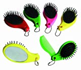 Bright and Funky Compact Hairbrush with Integrated Comb & Mirror in Pink - Women, Womans, Lady, Ladies, Her Most, Top, Best Popular Present, Gift Ideas For Birthday, Christmas, Xmas