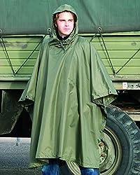 US Army Military Raincoat / Waterproof Ripstop Hooded Nylon Festival Poncho, Olive Green by Tekon Winner
