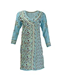 Lucknow Chikan Industry Women's Cotton Straight Kurti (Blue , 40 Inches)
