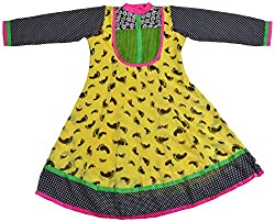 Apsara Women's Georgette Loose Fit Kurta (Yellow, XL)