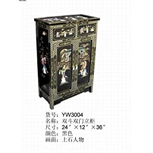 Oriental Furniture 2 Drawers 2 Doors Chest w. Glass Top