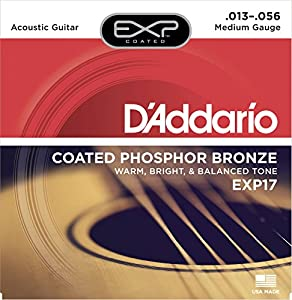 D'Addario EXP17 Coated Phosphor Acoustic Guitar Strings, Medium, 13-56