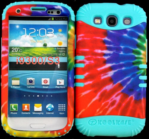 Hybrid Impact Rugged Cover Case Tie Dye Pattern Hard Plastic Snap On Baby Teal Skin For Samsung Galaxy Slll S3 Fits Sprint L710, Verizon I535, At&T I747, T-Mobile T999, Us Cellular R530, Metro Pcs And All front-420720