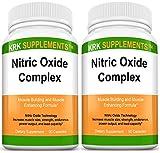 3 Bottles Nitric Oxide Complex 3500mg Per Serving L-Arginine HCL AAKG AKG Alpha Ketoglutarate Citrulline Malate 270 Total Capsules KRK Supplements