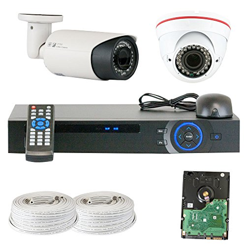 Best Sale High End Professional 4 Channel Hdcvi Dvr Security Camera System With 2 X1/2.9 Hdcvi Color Ir Cctv Security Camera, 1.0Mega Pixel Color Cmos, 2.8-12Mm Manual Focus Lens. One Is 42Pcs Infrared Led, 98 Feet Ir Distance And One Is 36Pcs Infrared Le