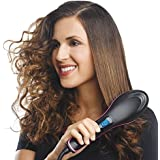 PETRICE New Simply Straight Ceramic Brush Hair Straightener, Black/Pink