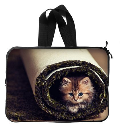 Cute Funny Cat 14 Inch Laptop Sleeve Bag With Hidden Handle For Laptop / Notebook / Ultrabook / Macbook front-20116