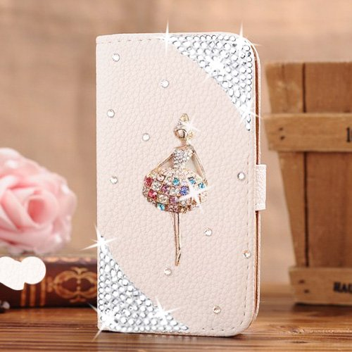 Berry Accessory(TM) Luxury 3D Bling Crystal Rhinestone Wallet Leather Purse Flip Card Pouch Stand Cover Case for iphone 6/6S Plus + Berry logo stand holder (dancing girl)