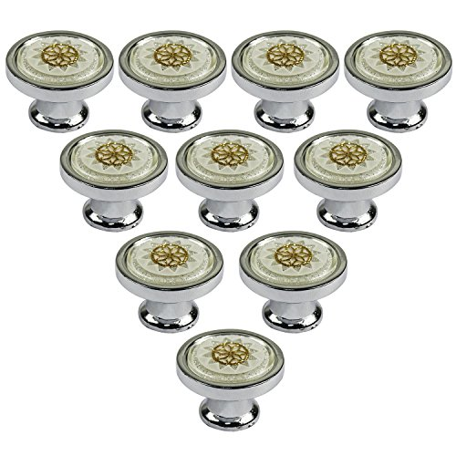 abcGoodefg 30mm Set of 10 Vintage White Glass Crystal Knobs Furniture Door Drawer Pull Cabinet Kitchen Handle Hardware (White Kitchen Cabinets Drawers compare prices)