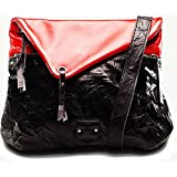 Twach Wrinkled Tripper Cross Body Leather Bag (Red Black)