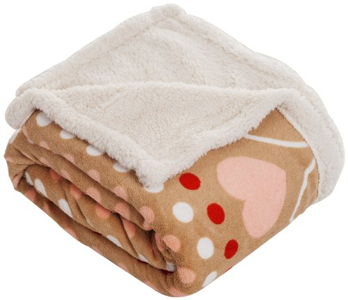 Lavish Home Throw Blanket, Fleece/Sherpa, Red Hearts front-396813