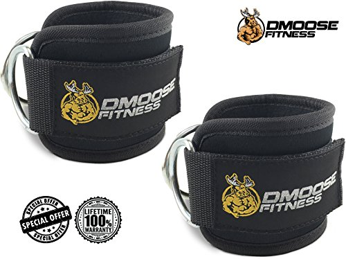 Strong Velcro Double D-Ring Ankle Straps for Cable Machines (Pair) - Premium Cuffs to Support Lower Body Leg Exercises for Enhanced Glute, Hamstring & Leg Workouts - Adjustable Comfort Fit Neoprene (Ankle Strap For Cable Machine compare prices)