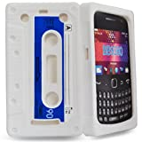 Phonedirectonline- White Cassette silicone case cover pouch for Blackberry curve 9360