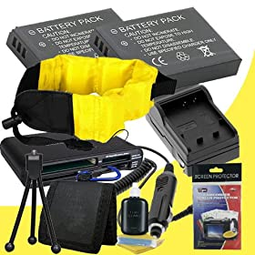Nikon COOLPIX AW100 16 MP CMOS Waterproof Digital Camera Two EN-EL12 Lithium Ion Replacement Battery w//Charger and Waterproof Floating Strap DavisMAX Accessory Bundle