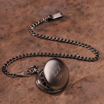 Personalized Gunmetal Pocket Watch with Wooden Gift Box