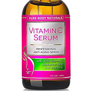 Pure Body Naturals - THE BEST ORGANIC Vitamin C Serum for Face. 20% Vitamin C + E + Hyaluronic Acid Serum. #1 Anti Aging Serum Moisturizer with Natural Ingredients, Organic Aloe + Amino Blend. Professional Anti Wrinkle Serum & Facial Skin Care Shown to Boost Collagen, Repairs Sun Damage, Dark Circles, Fades Sun & Age Spots & Reduces Fine Lines. Leaves Firm, Radiant, Beautiful, Youthful & Glowing Skin, 1 Ounce