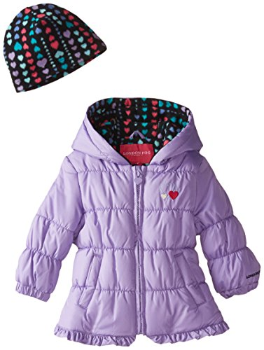 London Fog Baby Girls Ruffle Puffer, Purple, 12 Months