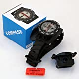 Wrist Compass with hose mount Waterproof Underwater for Snuba Diving Camping Hiking Climbing other outdoor recreation sports