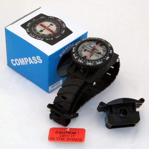 Compass with hose mount wrist strap Waterproof Underwater for Snuba Diving Camping Hiking Climbing other outdoor recreation sports