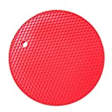KARP Round Shape Silica Gel Anti Hot Heat Resistant Pot Holder Disc Pads Car Dashboard Anti-Slip-resistant Pad Dining Table Mat Placemat Coasters - Rose Red