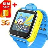3G GPS Tracker Kids Smart Watch TURNMEON Wristwatch SIM SOS WIFI Android Wear Camera Touch Wristwatch Parent Control app for Android ios iPhone (Blue)