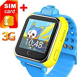 3G GPS Tracker Kids Smart Watch TURNMEON Wristwatch SIM SOS WIFI Camera Touch Smartwatch Parent Control app for Smartphone (Blue)