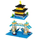 2 Different Nanoblock Sets London Tower Bridge And Kinkaku Ji (Temple Of The Golden Pavilion) In Japan