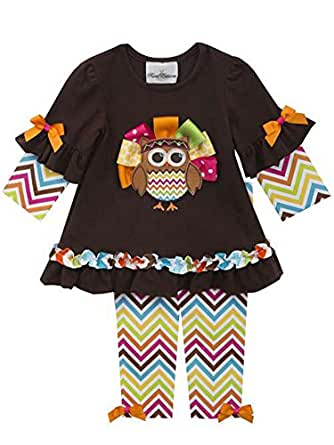 Rare Editions Baby Girl Chevron Owl Turkey Thanksgiving Outfit (3m-24m)