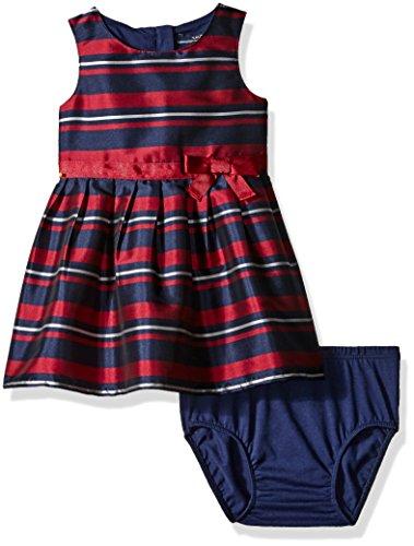 Nautica Baby Stripe Taffeta Dress with Grosgrain Sash, Navy, 18 Months
