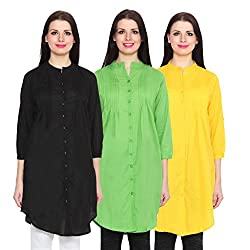 NumBrave Black, Green & Yellow Long Cotton Top (Pack of 3)