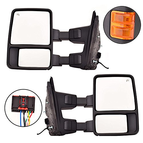 For 08-15 F250 F350 Manual Side Mirror W// Amber Turn Signal Towing Mirrors Pair