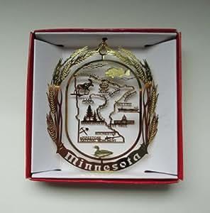 Minnesota State Brass Christmas Ornament Souvenir Gift Rochester St Paul Duluth