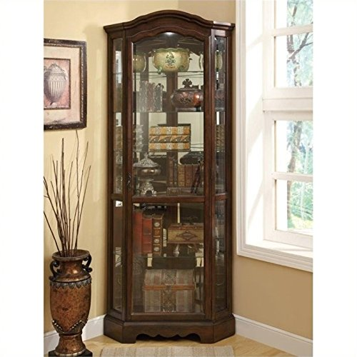 Bowery Hill 5 Shelf Corner Curio Cabinet with Shaped Crown in Rich Brown (Corner Cabinet Living Room compare prices)